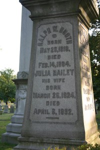 Ralph and Julia Booth's monument at Green-Wood Cemetery, Brooklyn.