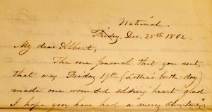 Letter from Charlotte to her husband Albert, Christmas Day, 1862. Providence Public Library Special Collections.